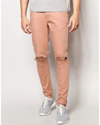 Asos Brand Super Skinny Jeans With Knee Rips In Pink