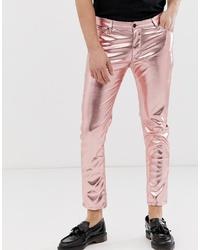 ASOS DESIGN Skinny Jeans In Metallic Pink Leather Look