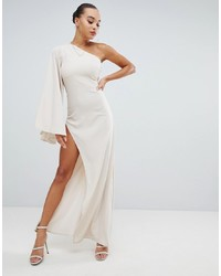 Missguided Peace And Love One Shoulder Maxi Dress