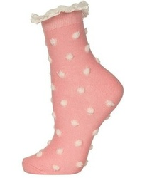 Topshop Lace Trim Textured Dot Socks