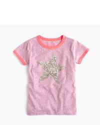 J.Crew Girls Sequin Star Ringer T Shirt