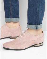 Pink Suede Brogues