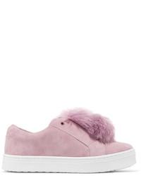 Pink Suede Slip-on Sneakers
