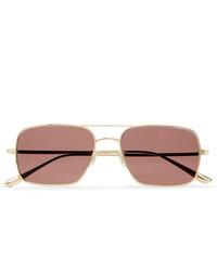 The Row Oliver Peoples Victory La Aviator Style Gold Tone Titanium Sunglasses