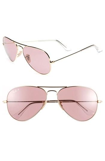 eafb10f535 Ray-Ban Original Aviator 58mm Polarized Sunglasses Pink One Size ...