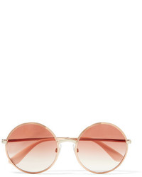 Dolce & Gabbana Round Frame Rose Gold Tone Sunglasses Pink