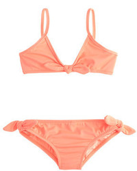 J.Crew Girls Bow Bikini Set In Neon
