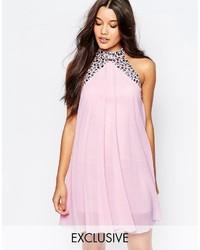 Lipsy Embellished High Neck Babydoll Swing Dress