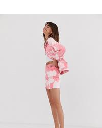 Monki Tie Dye Denim Skirt In Pink