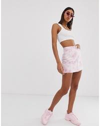 Bershka Tie Dye Mini Skirt In Pink