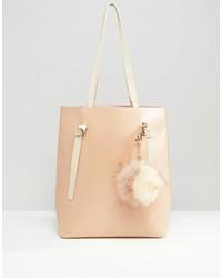 Missguided Contrast Strap Tote Bag With Pom Pom