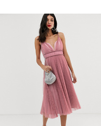 Asos Tall Asos Design Tall Pleated Tulle Midi Dress With Twist Detail