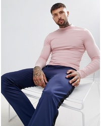 ASOS DESIGN Muscle Fit Long Sleeve T Shirt With Turtle Neck In Pink