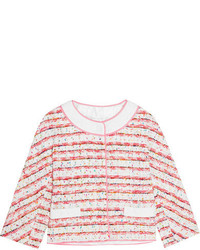 Moschino Boutique Lace And Grosgrain Trimmed Boucl Tweed Jacket Pink