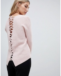 Forever New Lace Up Back Jumper In Pink