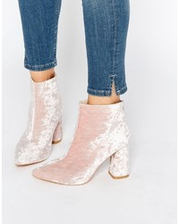 Pink Velvet Ankle Boots