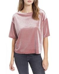 Pink Velvet Crew-neck T-shirt