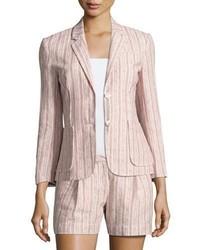 Pink Vertical Striped Blazer