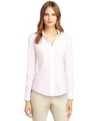 Pink Vertical Striped Dress Shirt