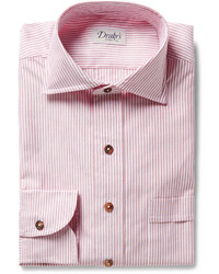 Drakes Drakes Red Striped Cotton Shirt