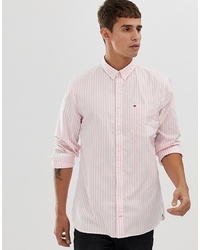 Tommy Hilfiger Striped Oxford Shirt With Pique Flag Logo In Pink