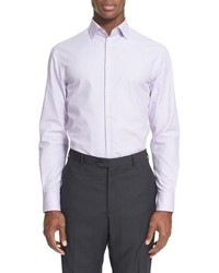 Armani Collezioni Trim Fit Microstripe Dress Shirt