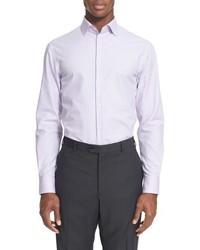 Armani Collezioni Trim Fit Microstripe Dress Shirt
