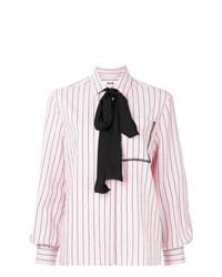 MSGM Striped Pussy Bow Shirt