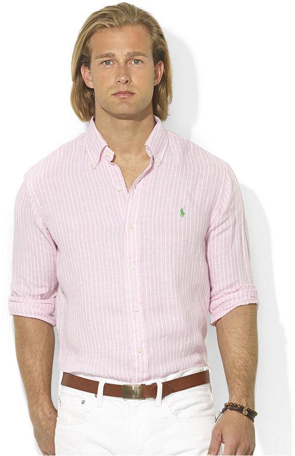 ... Polo Ralph Lauren Shirt Custom Fit Long Sleeve Striped Linen Sport Shirt