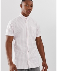 Jack & Jones Premium Short Sleeve Stripe Shirt In Pink