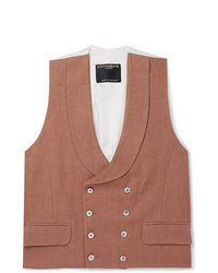 Favourbrook Brick Double Breasted Linen Waistcoat