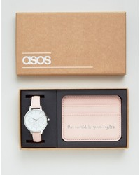Asos The World Is Your Oyster Watch And Card Holder Set