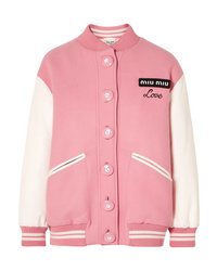 Miu Miu Oversized Two Tone Leather And Wool Bomber Jacket