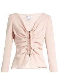 Oscar de la Renta Ruched Stretch Wool Blend Tailored Jacket