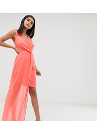 TFNC Tall Wrap Front Dress With Asymmetric Hem In Coral