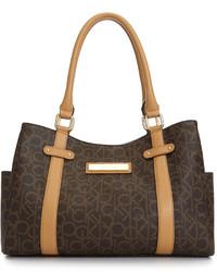 Print Leather Satchel Bag
