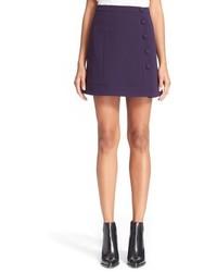 Carven Button Detail Crepe Skirt Size 6 Us 38 Fr Blue