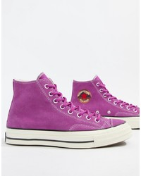 Purple Canvas High Top Sneakers