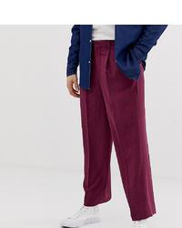 Noak Slim Fit Smart Trousers In Textured Plum