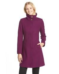 Via Spiga Stand Collar Wool Blend A Line Coat