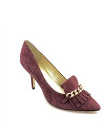 Purple Embellished Suede Pumps