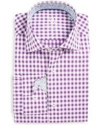 Shaped fit gingham dress shirt medium 579365