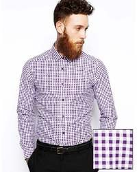 Asos Smart Shirt In Long Sleeve With Gingham Check Purple