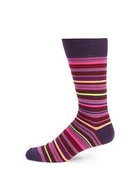 Purple Horizontal Striped Socks