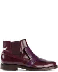 Purple Leather Ankle Boots