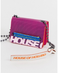 House of Holland Bright Pink Logo Leather Handbag