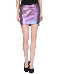 Purple Leather Mini Skirt