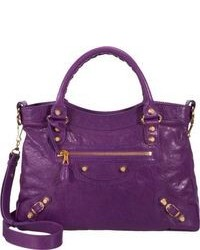 Purple Leather Satchel Bag