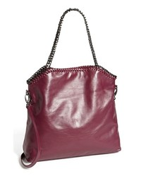 Purple Leather Tote Bag
