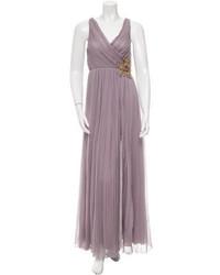 Blumarine Pleated Silk Evening Gown
